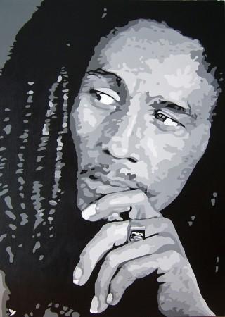 Reggae 2 bob marley une oeuvre d 39 art par adolphe for Tableau portrait noir et blanc